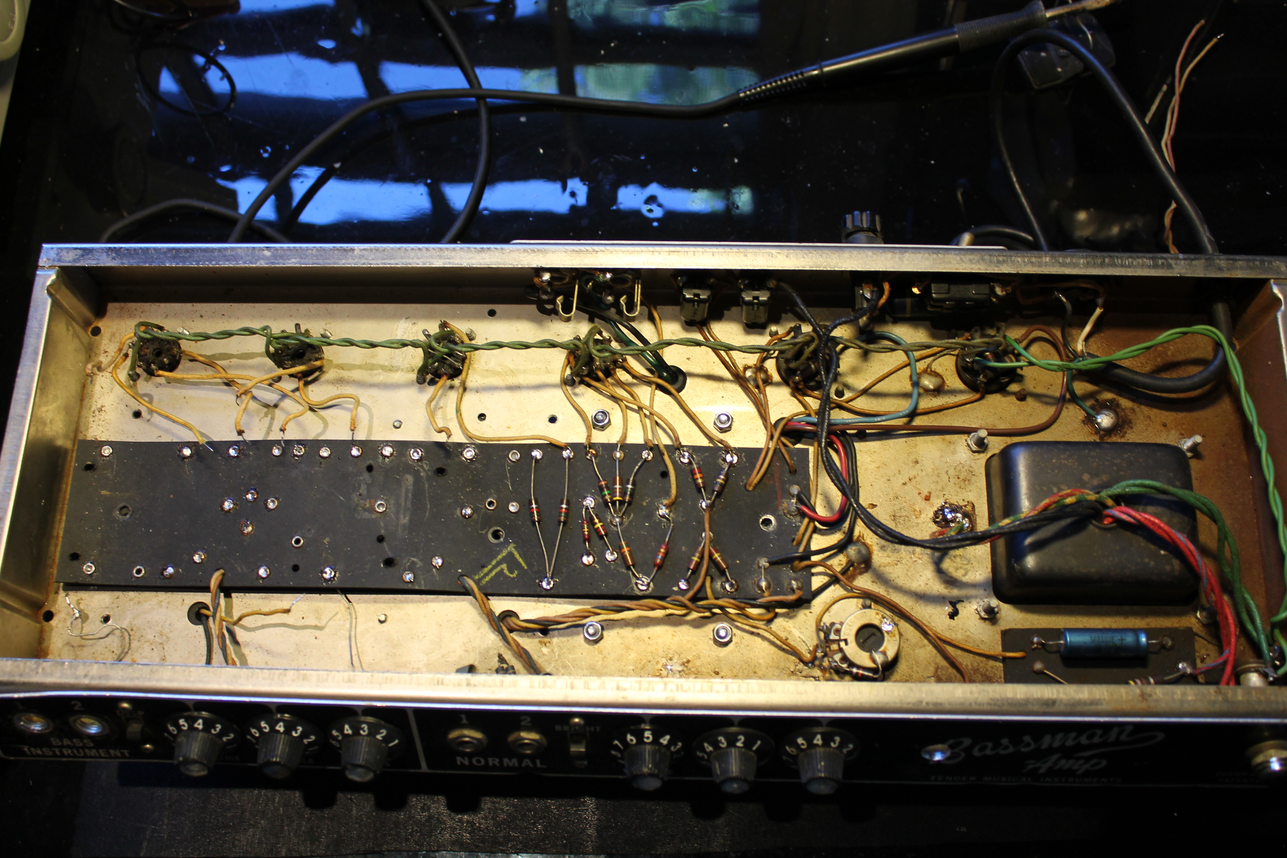 A Blackface Bassman ready for the power supply mods. The main circuit board  being prepared for mods.